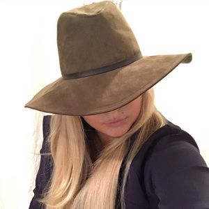 ZARA WIDE brim BOHO safari HAT suede SUN GREEN cap